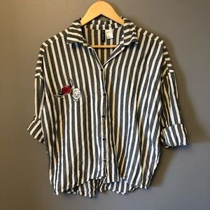 "Oversized ""Authentic"" Striped Collared Shirt"